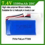 Baterie 7.4V 1500mAh Li-Pol pro RC Modely a Loďe FT009, HSP 1:18
