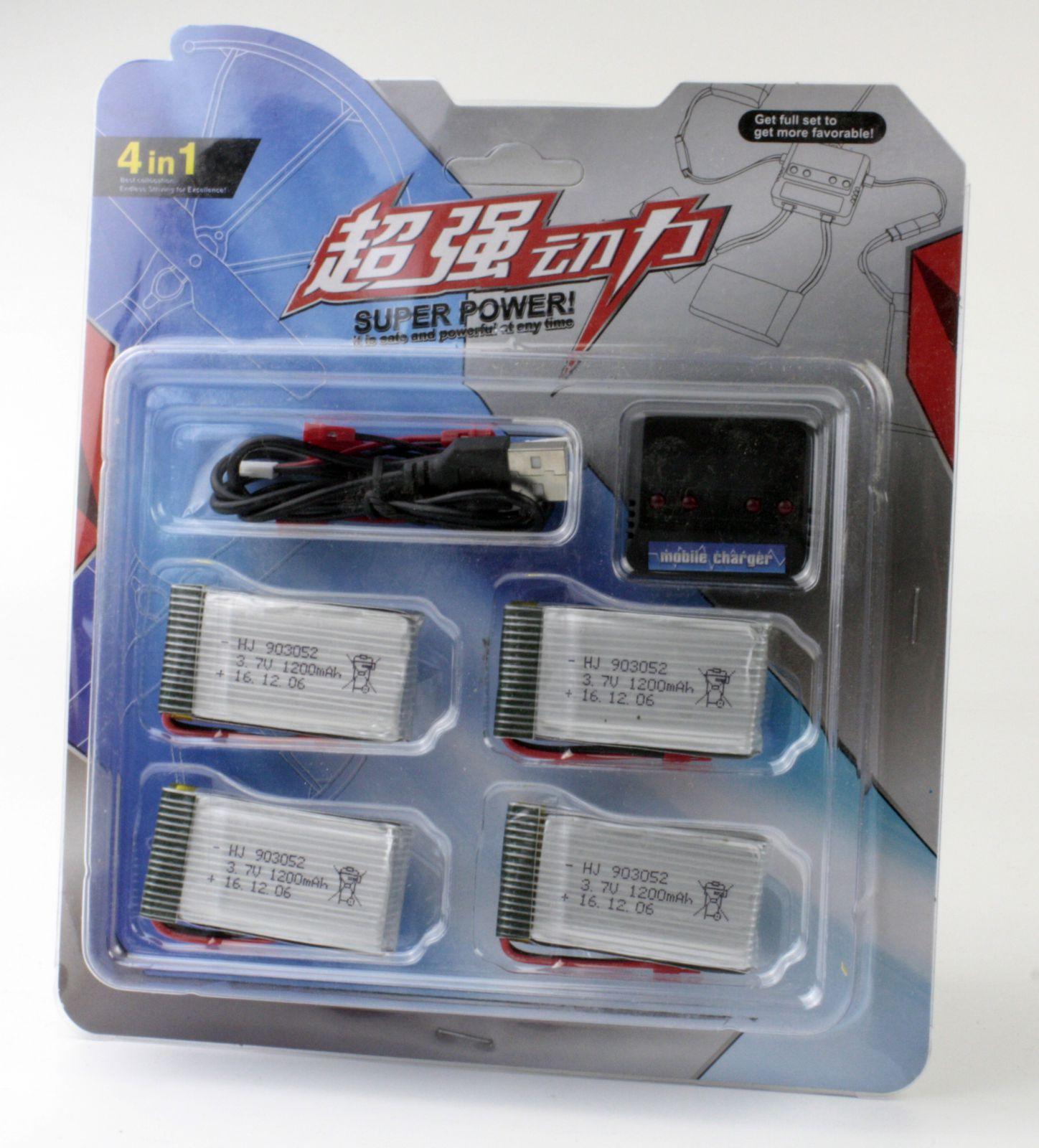 Sada baterií Li-Pol 1200mAh 3.7V + nabíječka USB