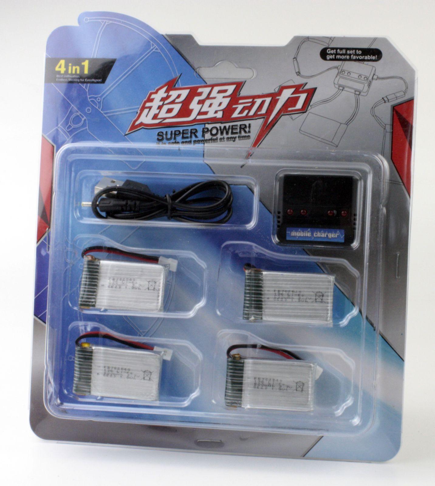 Sada baterií LiPol 600mAh 3.7V 4ks + nabíječka USB