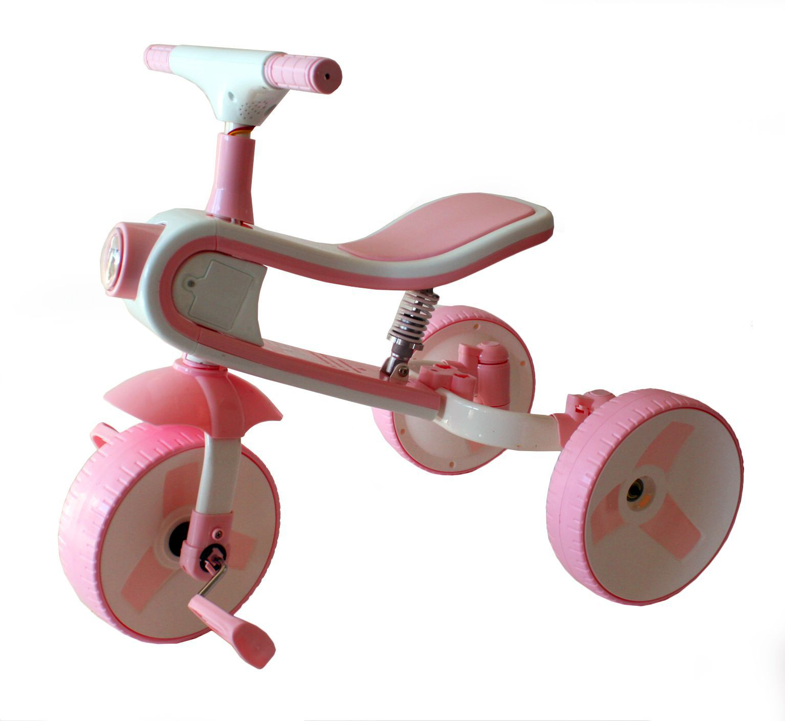 Multifunkční dětské tříkolové odrážedlo 2 v 1 s funkčním světlem, zvukem a odpružením růžové