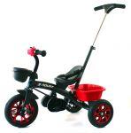 Nejbezpečnější luxusní dětské tříkolové šlapadlo/tahač 2 v 1 se zadním košíkem černé