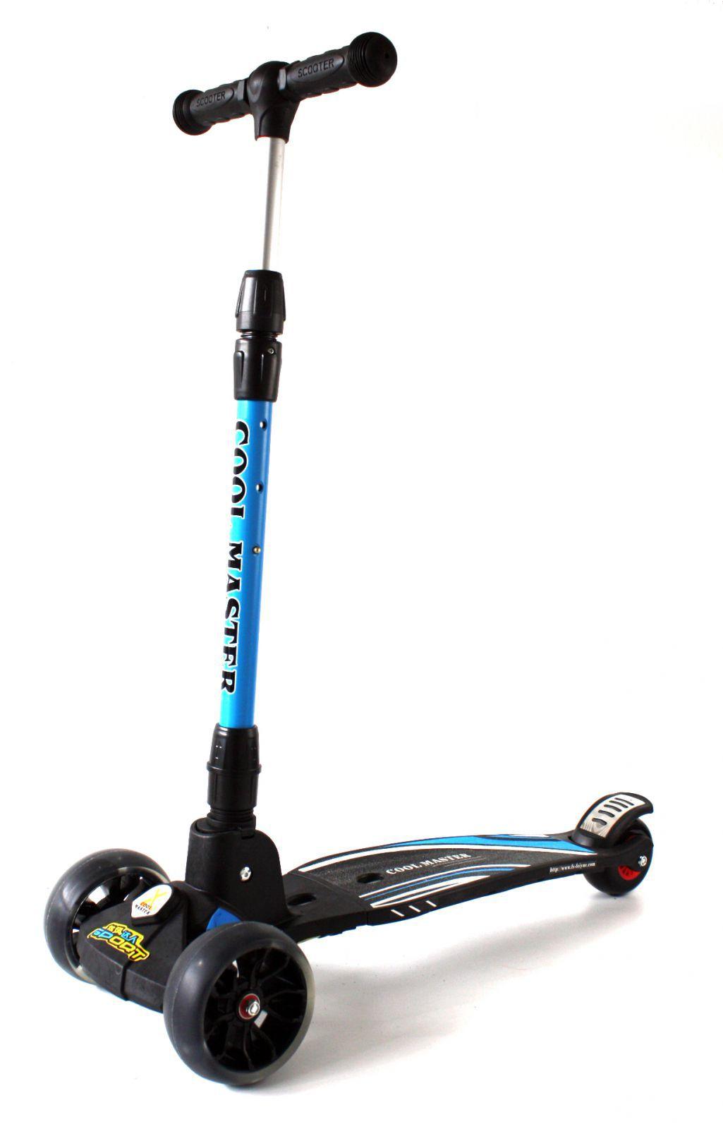 Luxusní dětské odrážedlo se světélkujícími koly, nastavitelnými řídítky a odolnou brzdou modré