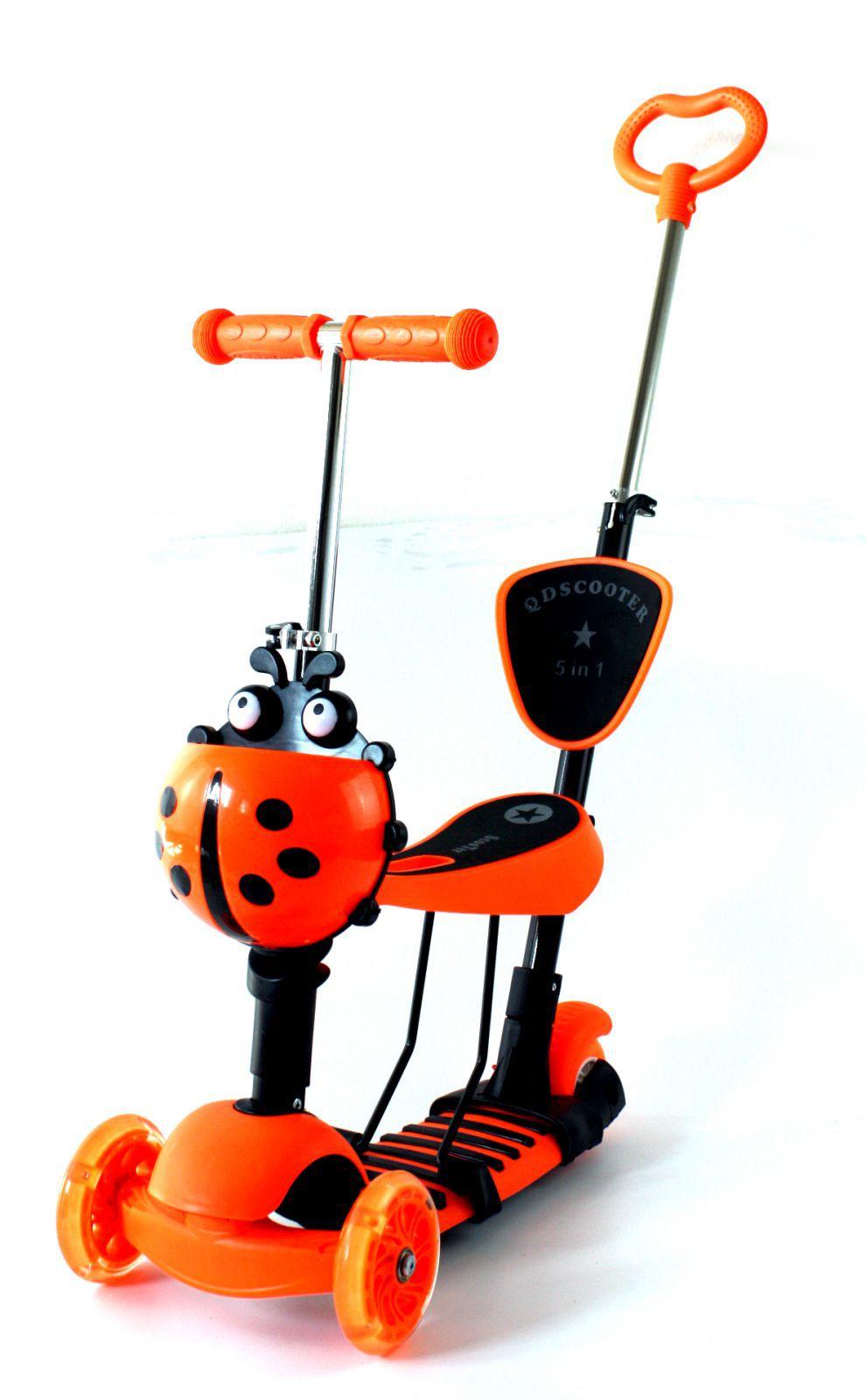 Luxusní dětské odrážedlo/koloběžka/tahač 2 v 1 s košíkem na všechny důležité drobnosti oranžové