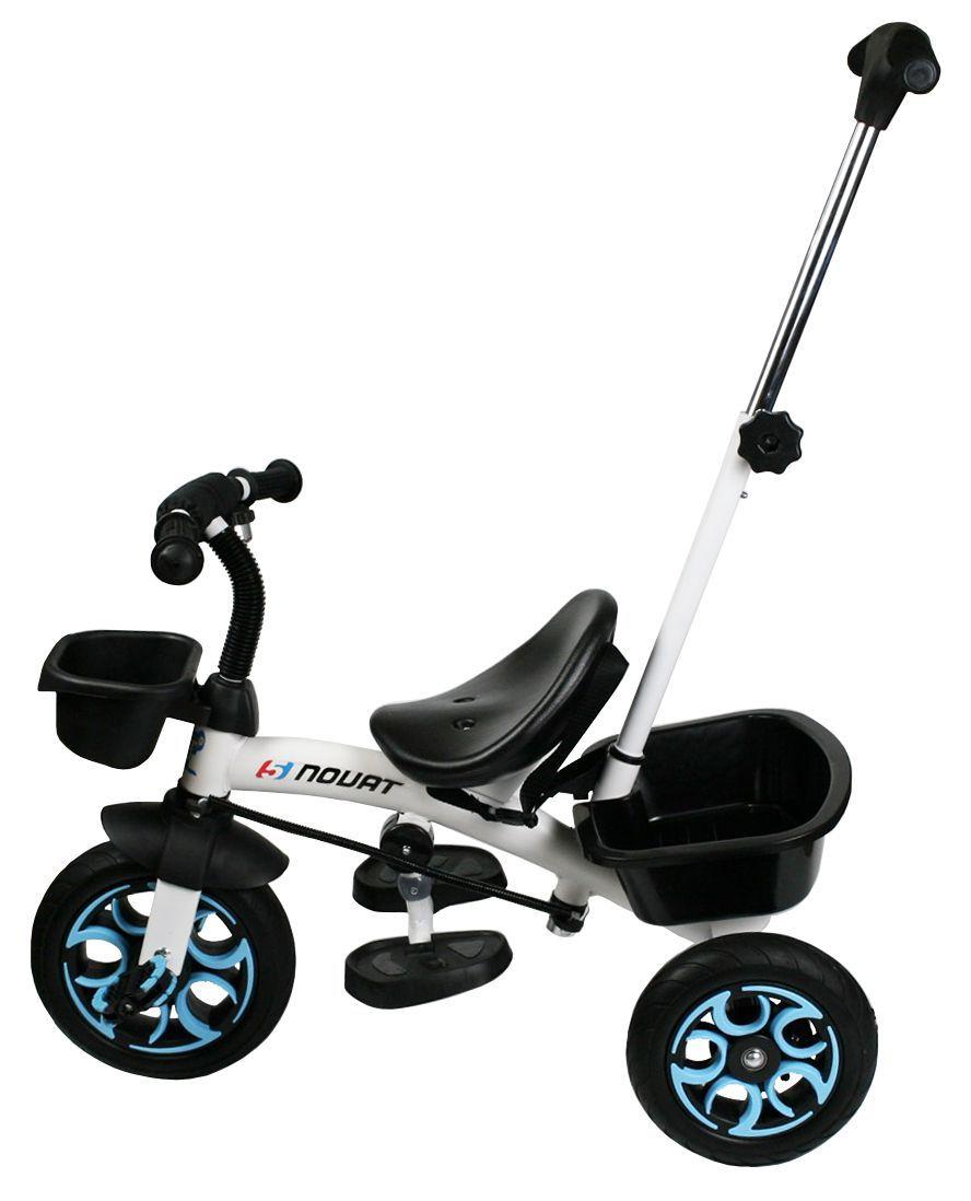 Nejbezpečnější luxusní dětské tříkolové šlapadlo/tahač 2 v 1 se zadním košíkem modré