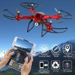 XXL DRON L5 s HD WIFI kamerou- barometrem-15 minut letu, červený
