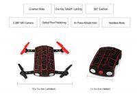 SKLÁDACÍ DRON DO KAPSY MONSTER 19cm EVOLUTION PRO + sada 4ks baterií, nabíječka USB, červený