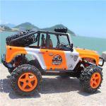 Luxusní realistický JEEP 22cm- 45km/hod náhon 4x4 s led světly, oranžový