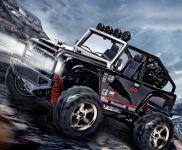 Luxusní realistický JEEP 22cm- 45km/hod náhon 4x4 s led světly, černý