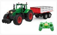 Traktor na dálkové ovládání se super LED světly, realistickými zvuky a dálkově ovládaným valníkem