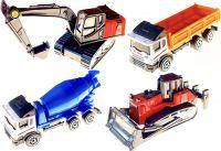 Sada čtyř kovových modelů pracovních strojů a nákladních aut 1:64